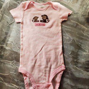 12 Month Pink Stripe Monkey Onesie Carter's